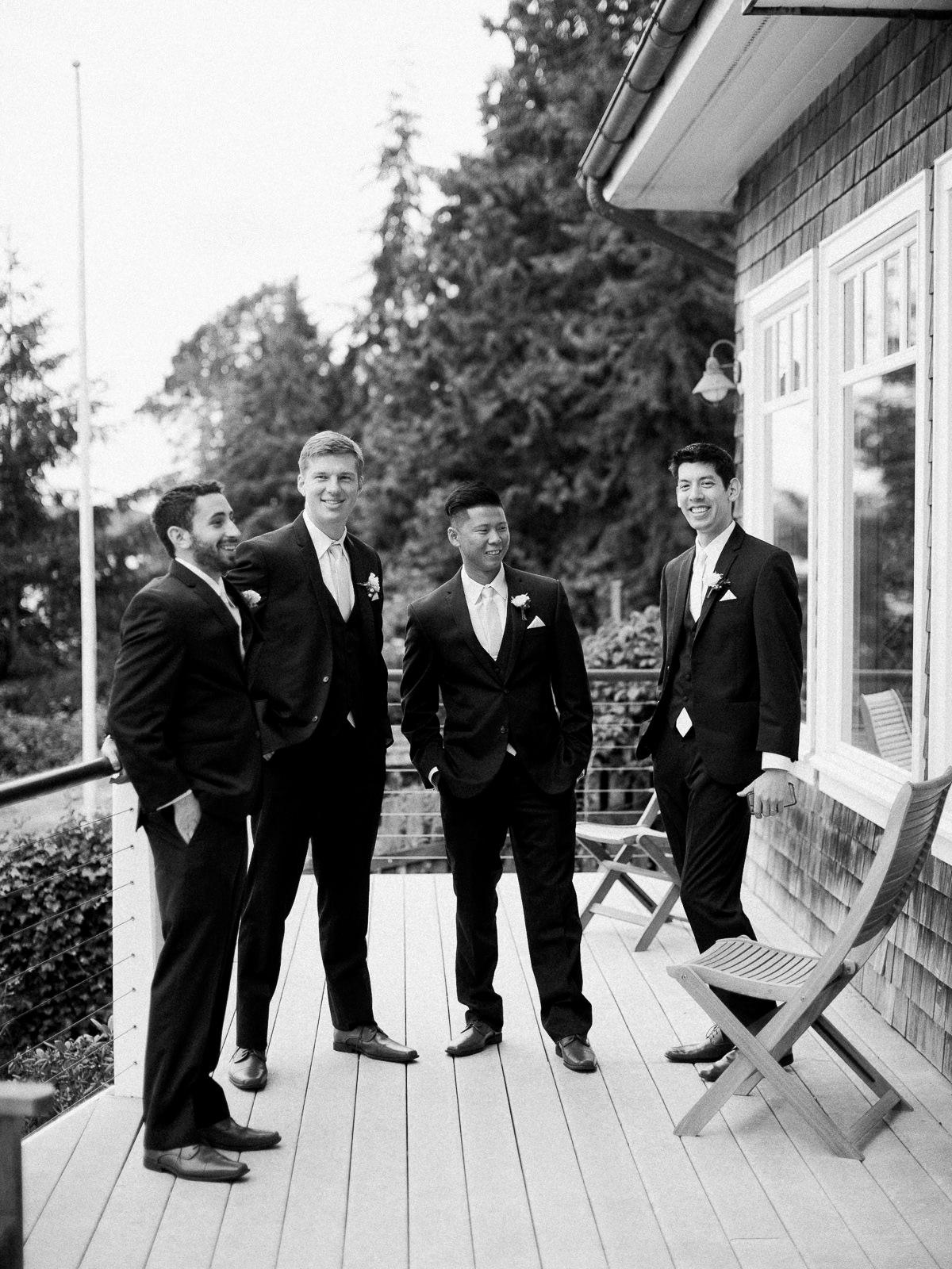 Classic groomsmen shot in black and white at an elegant Kiana Lodge wedding