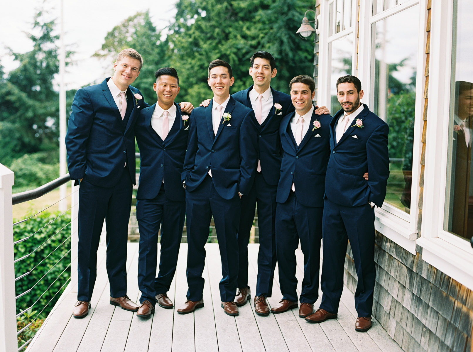 Groomsmen in Navy and Pink at a Classic Kiana Lodge wedding by Anna Peters