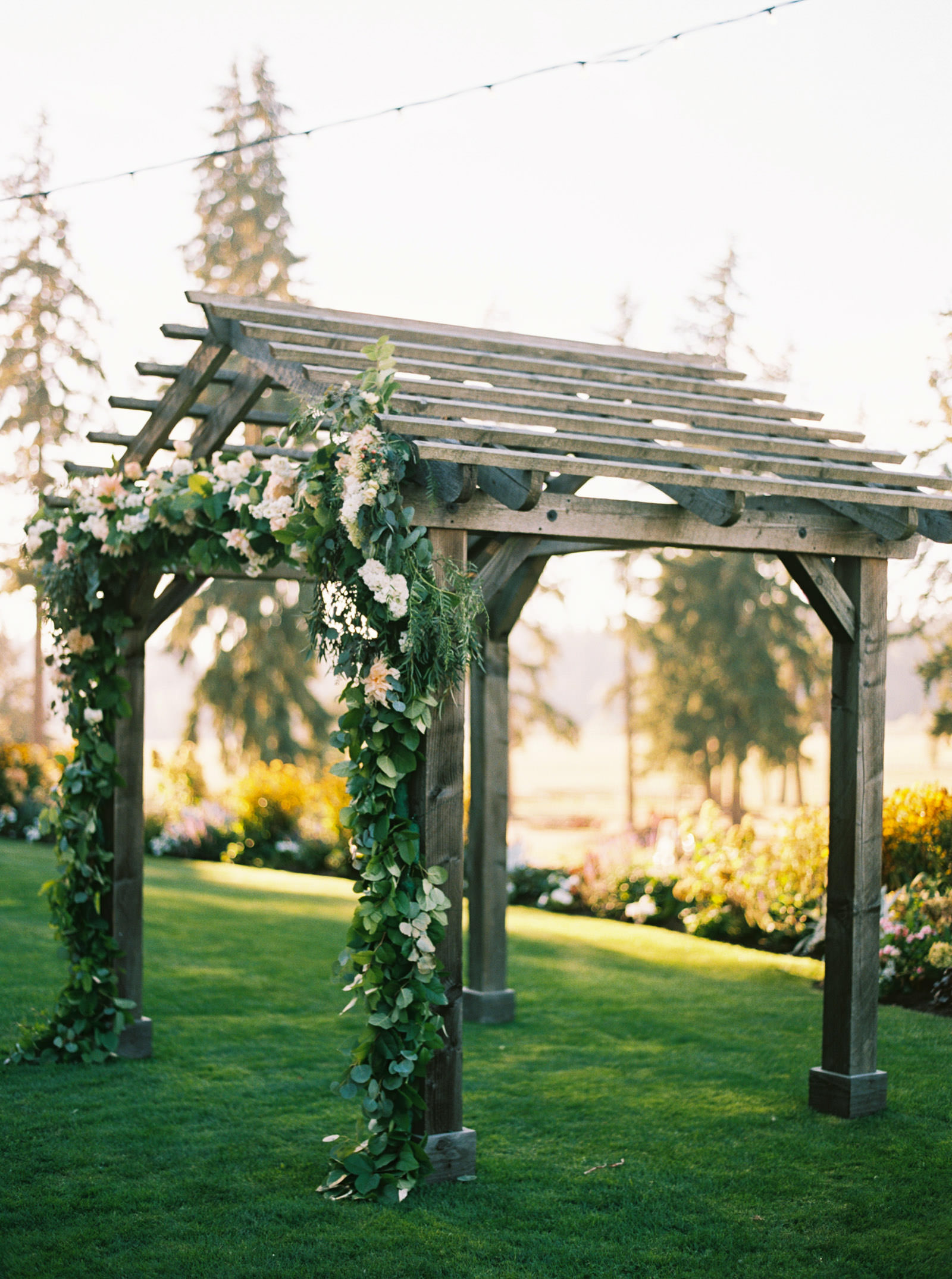 Floral Arbor at at romantic fall Kelly Farms Wedding   Seattle Wedding Photographer Anna Peters
