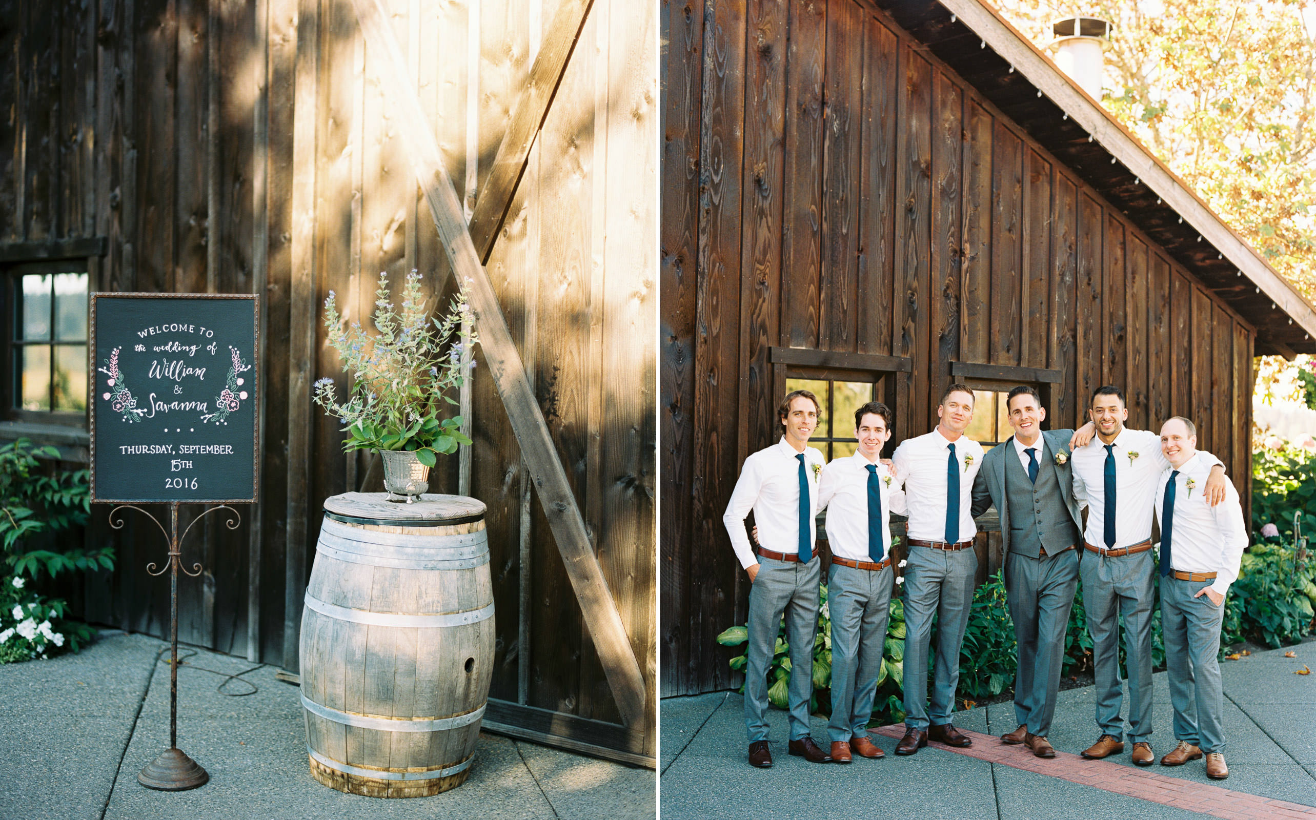 Groomsmen in grey suits at a romantic Kelley Farms Wedding   Seattle Wedding Photographer Anna Peters