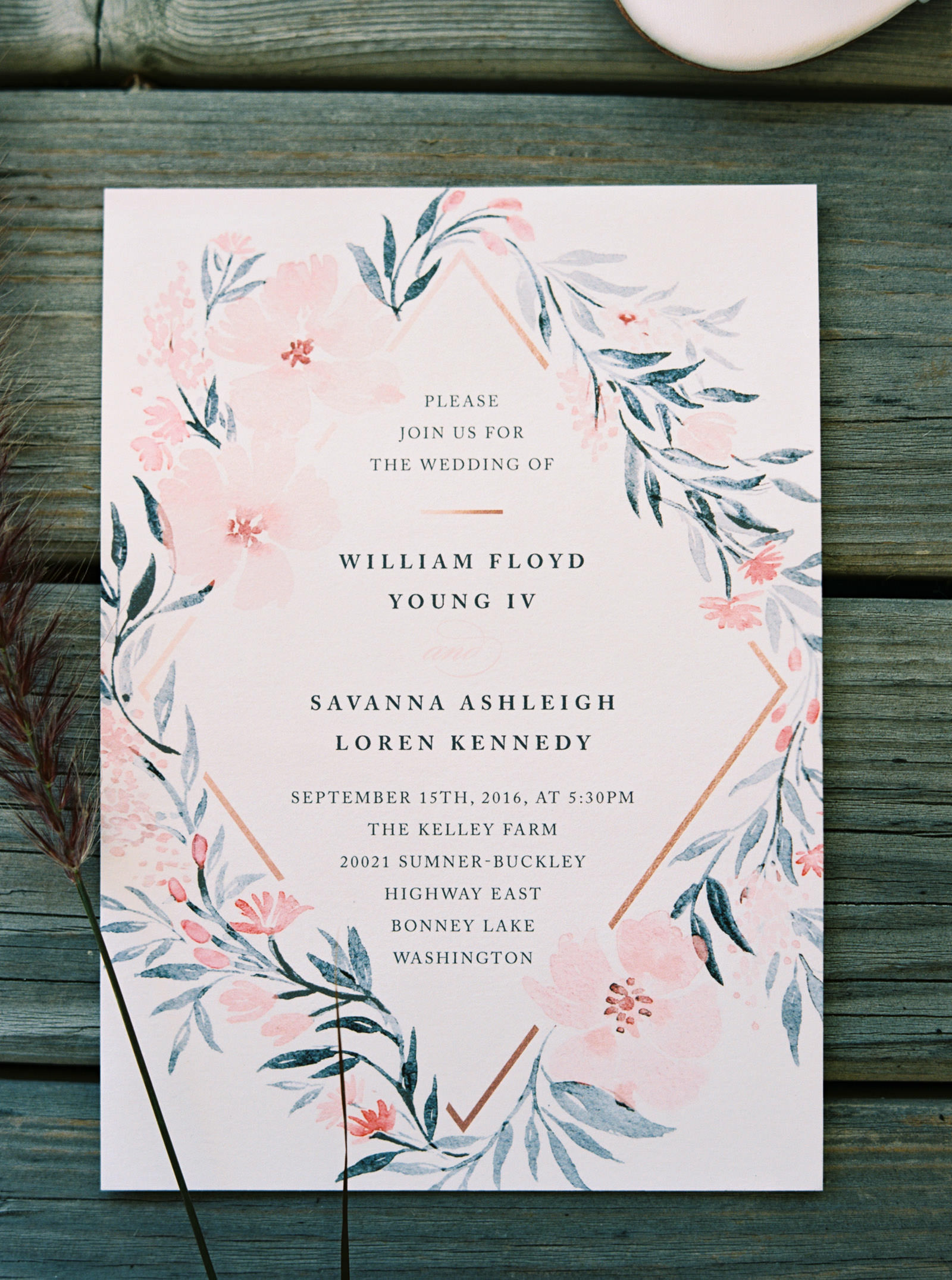Watercolor floral wedding invitation at Kelley Farms   Seattle Wedding Photographer Anna Peters