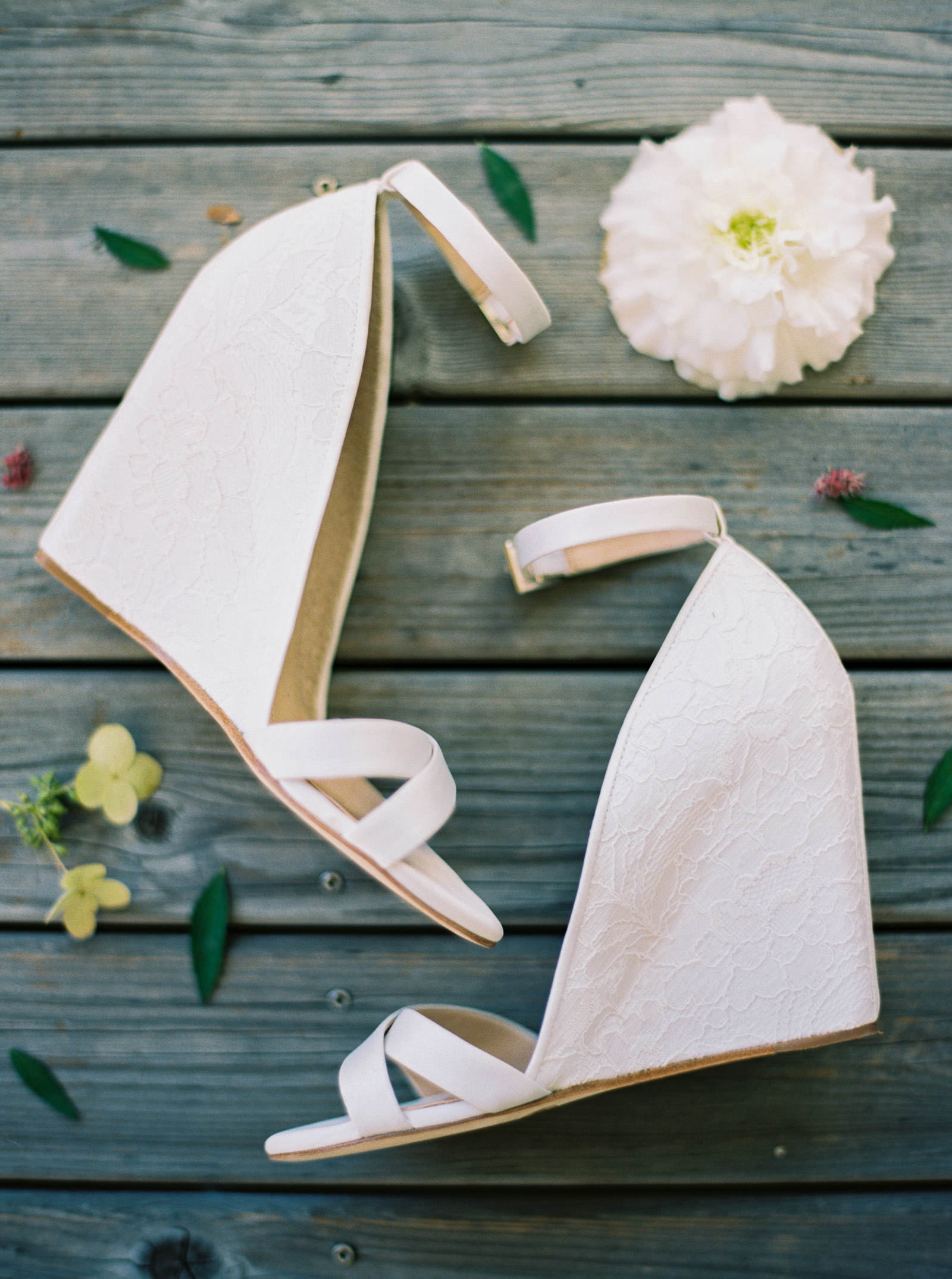 Romantic wedge wedding shoes at Kelley Farms   Seattle Wedding Photographer Anna Peters