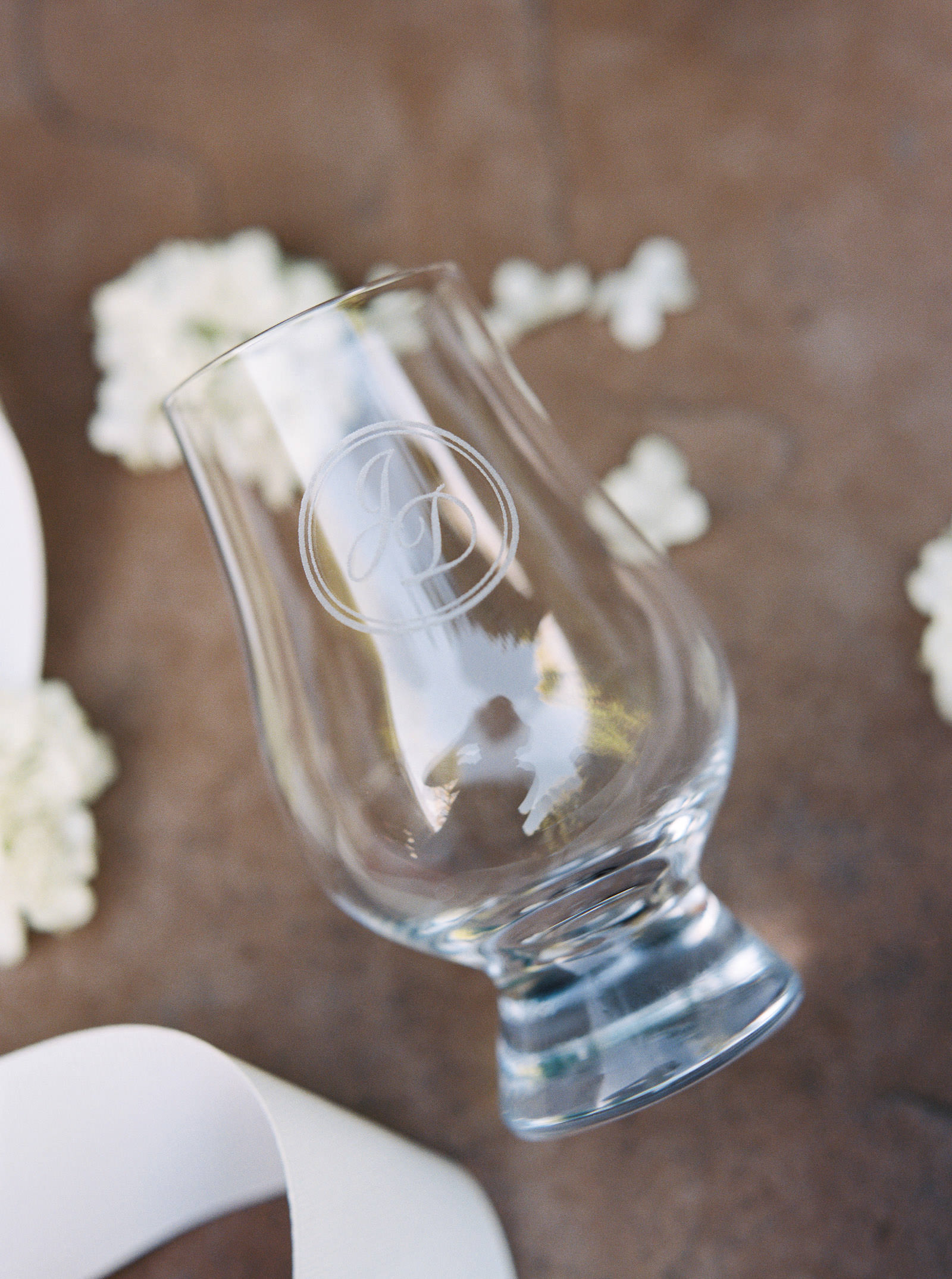 Customized glencairn glass wedding favors at a spring DeLille Cellars Wedding