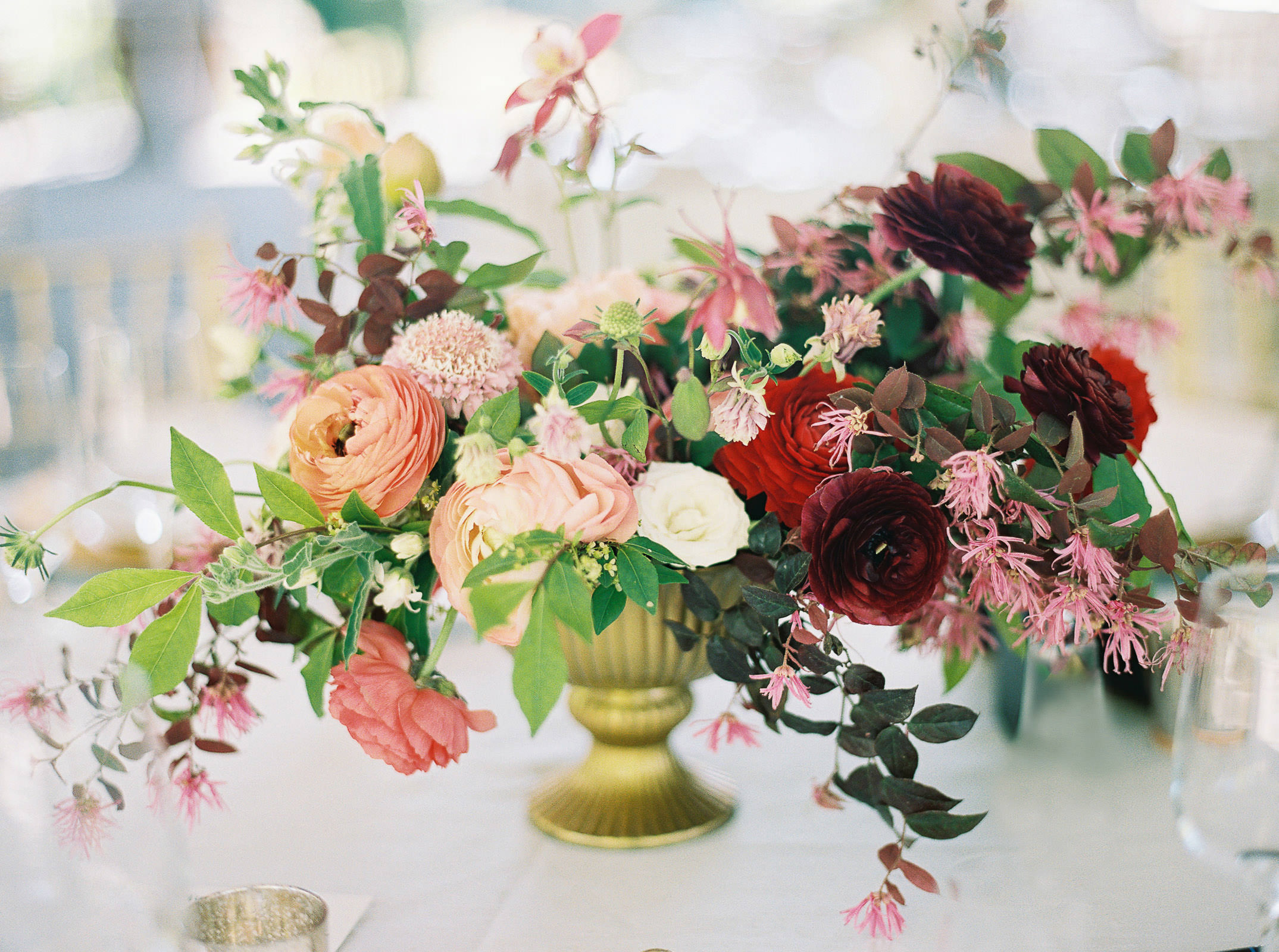 Vibrant spring wedding flowers at a DeLille Cellars wedding
