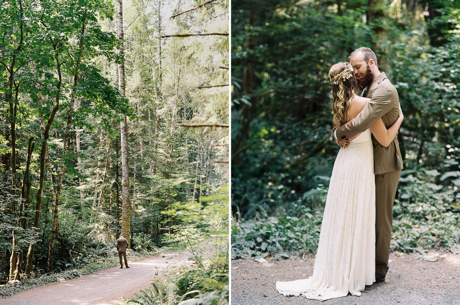 Bride and Groom first look at Wellspring Spa Wedding at Mt. Rainier by Seattle Wedding Photographer Anna Peters