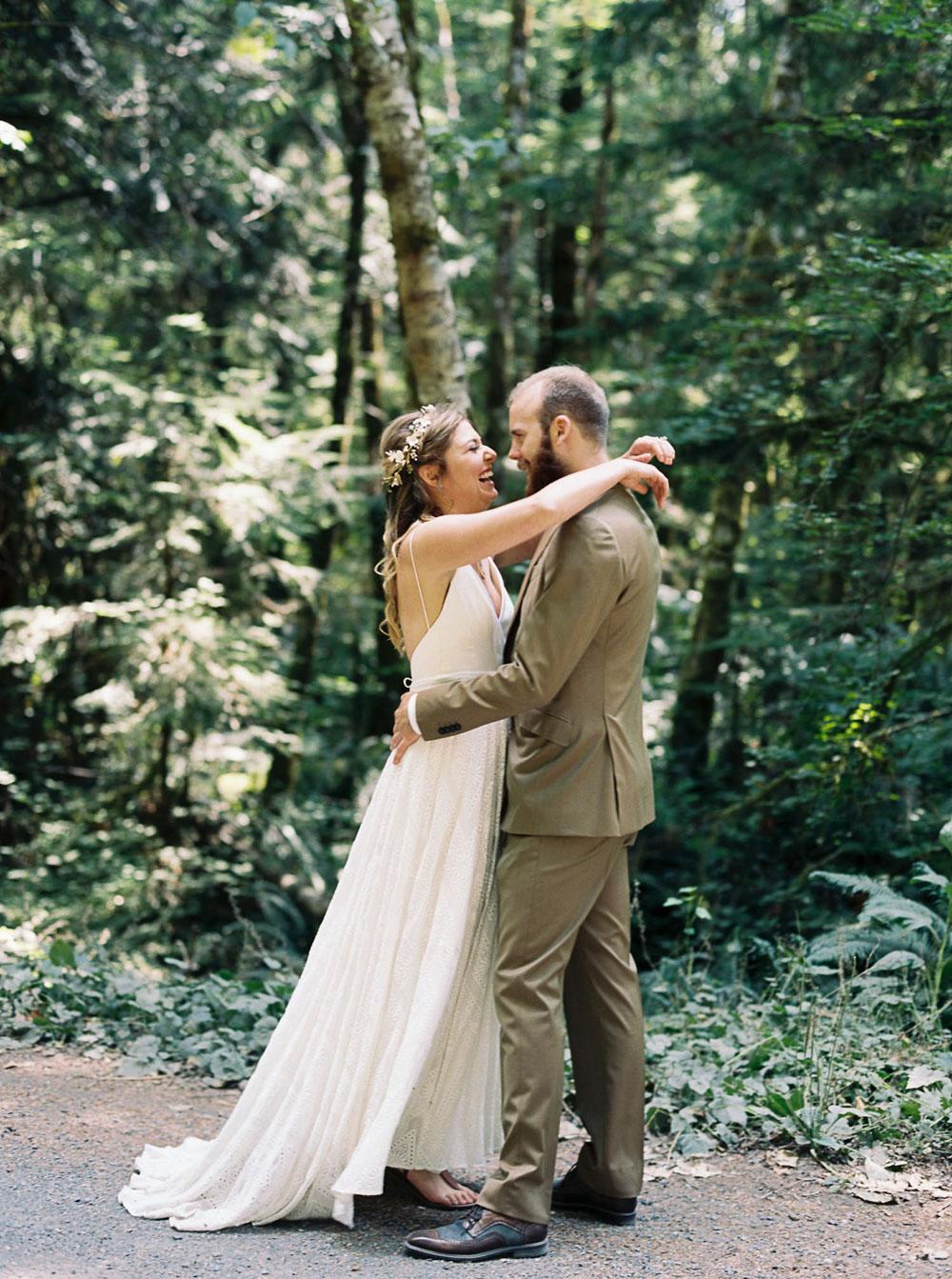 Seattle Wedding Photographer Anna Peters captures bride and groom atWellspring Spa Wedding at Mt. Rainier