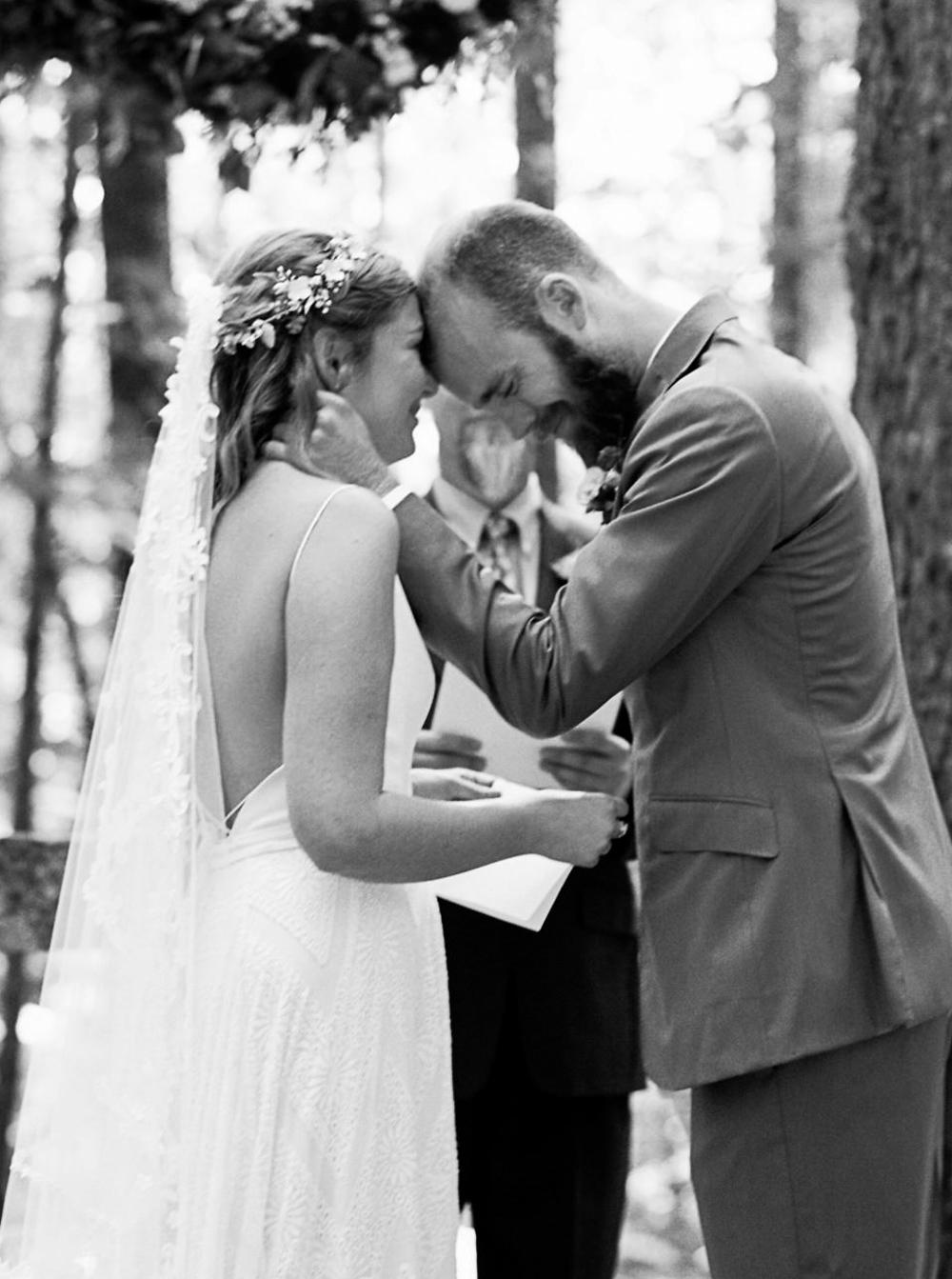 Groom gets emotional during outdoor Seattle Wedding at Wellspring Spa Wedding at Mt. Rainier