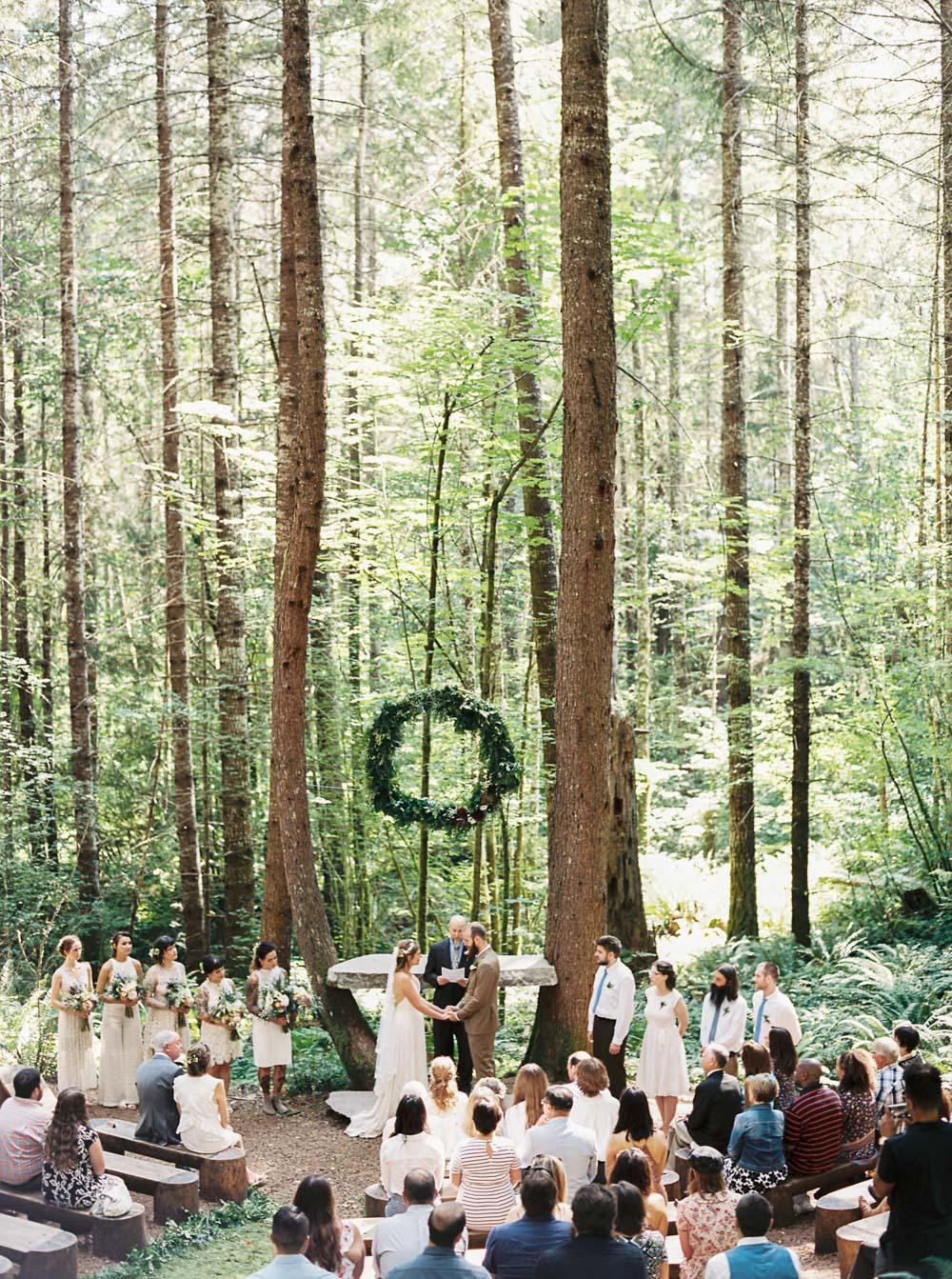 Wellspring Spa Wedding ceremony at Mt. Rainier captured by Seattle Wedding Photographer Anna Peters