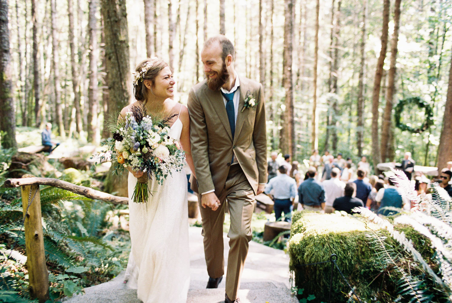Just Married portraits by Anna Peters Seattle Wedding Photographer at Wellspring Spa