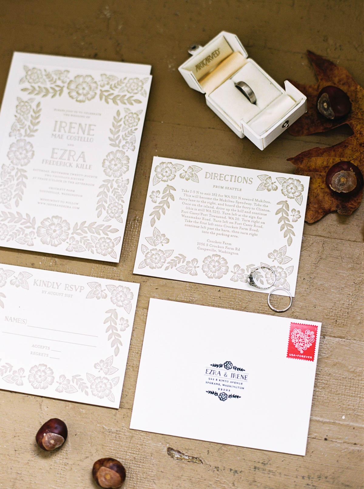 VIntage inspired wedding invitations at Crockett Farm