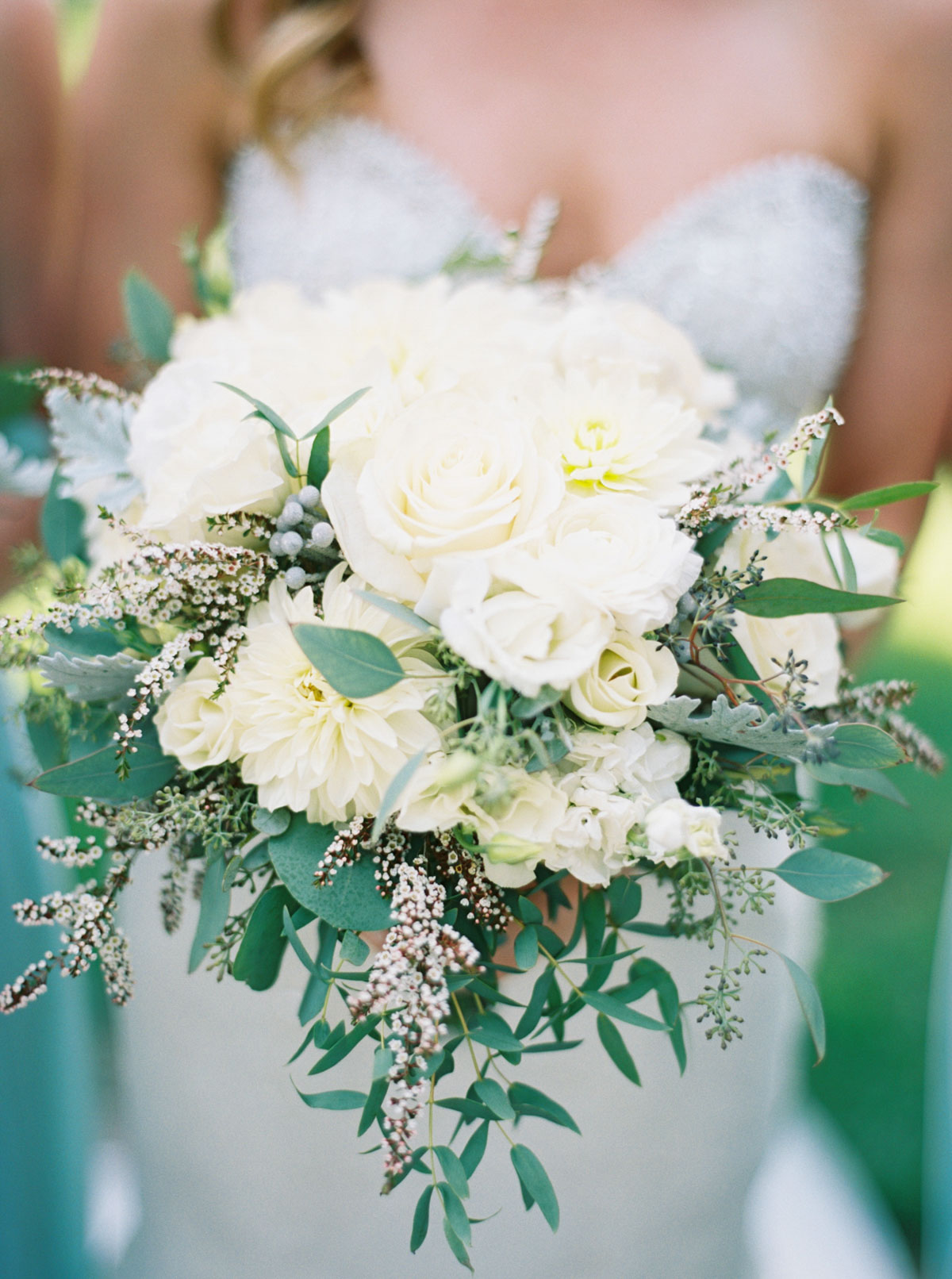 Elegant green and white wedding bouquet at Arbor Crest Winery by Fine Art Film Photographer Anna Peters