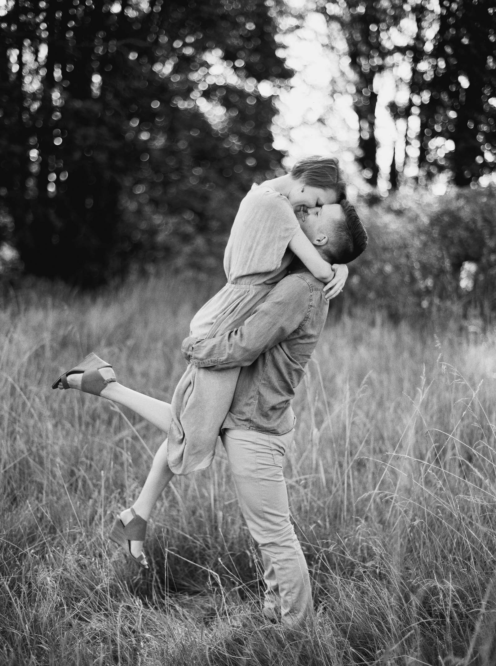 Seattle engagement photos in Discovery park by fine art film photographer Anna Peters