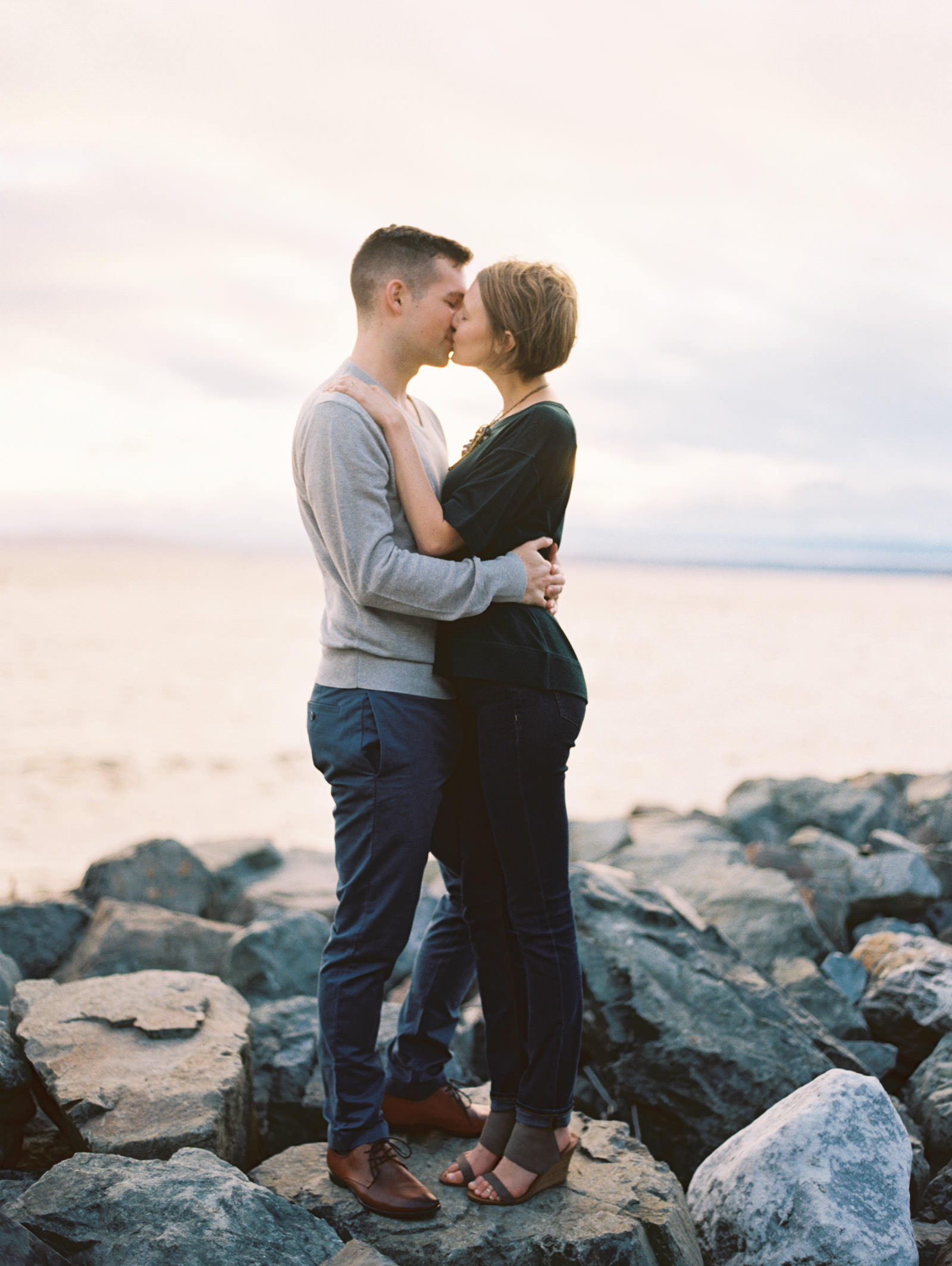 Engagement photo session by the water by top Seattle Wedding Photographer Anna Peters