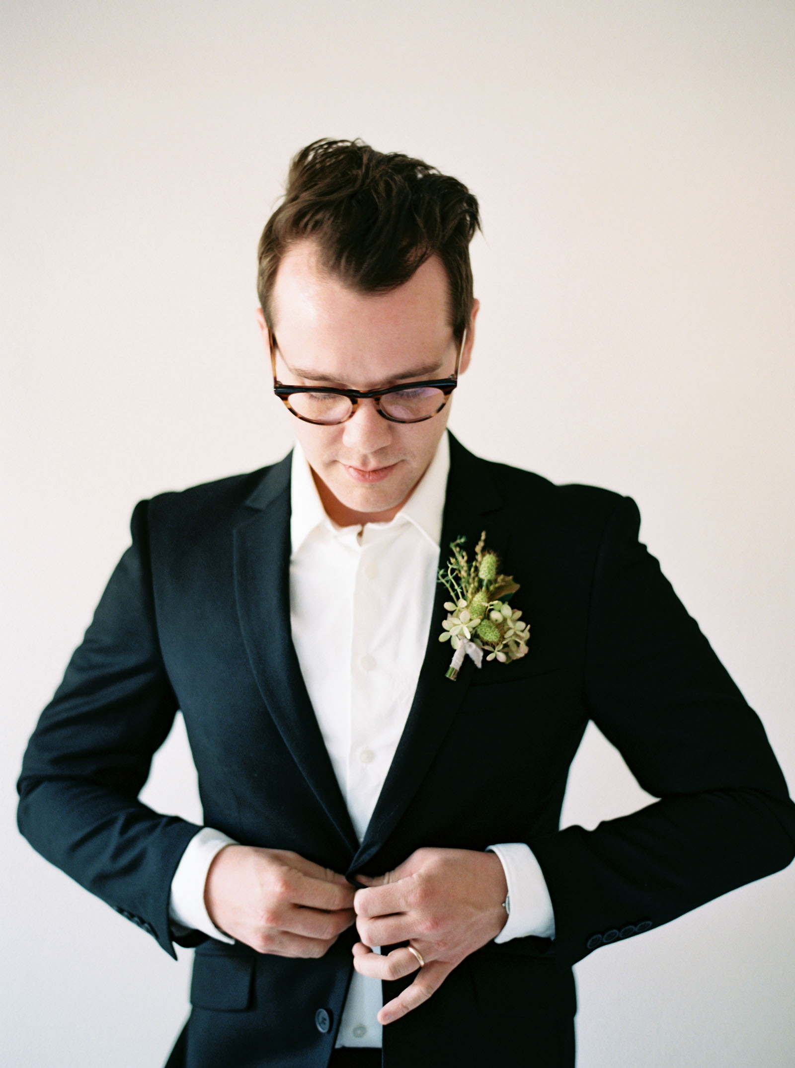Groom portraits for a Seattle wedding photographed on film by Anna Peters