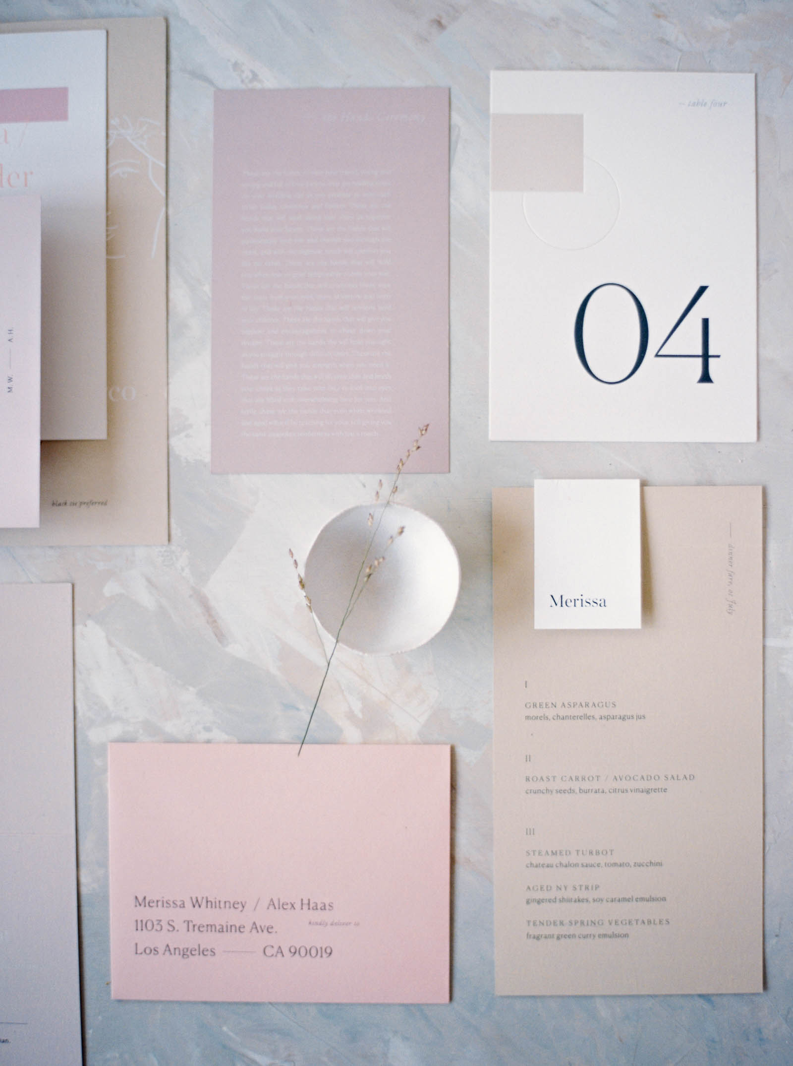 Modern minimalist wedding invitation captured by Pacific Northwest wedding photographer Anna Peters