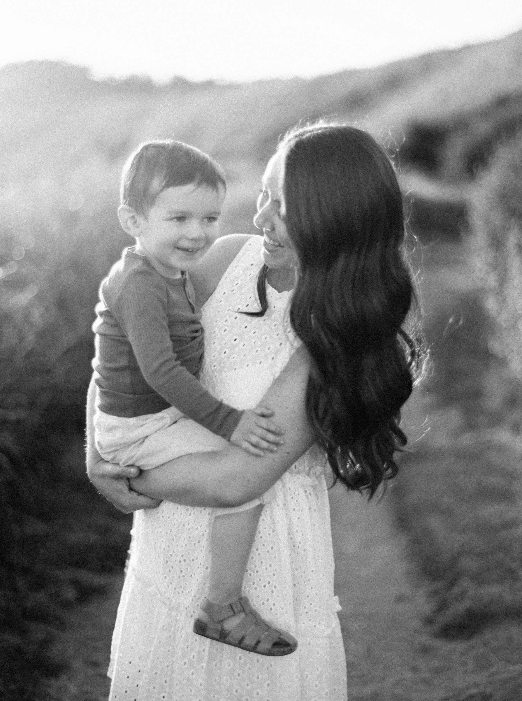 Mom and son captured on classic black and white film by top Seattle family photographer Anna Peters