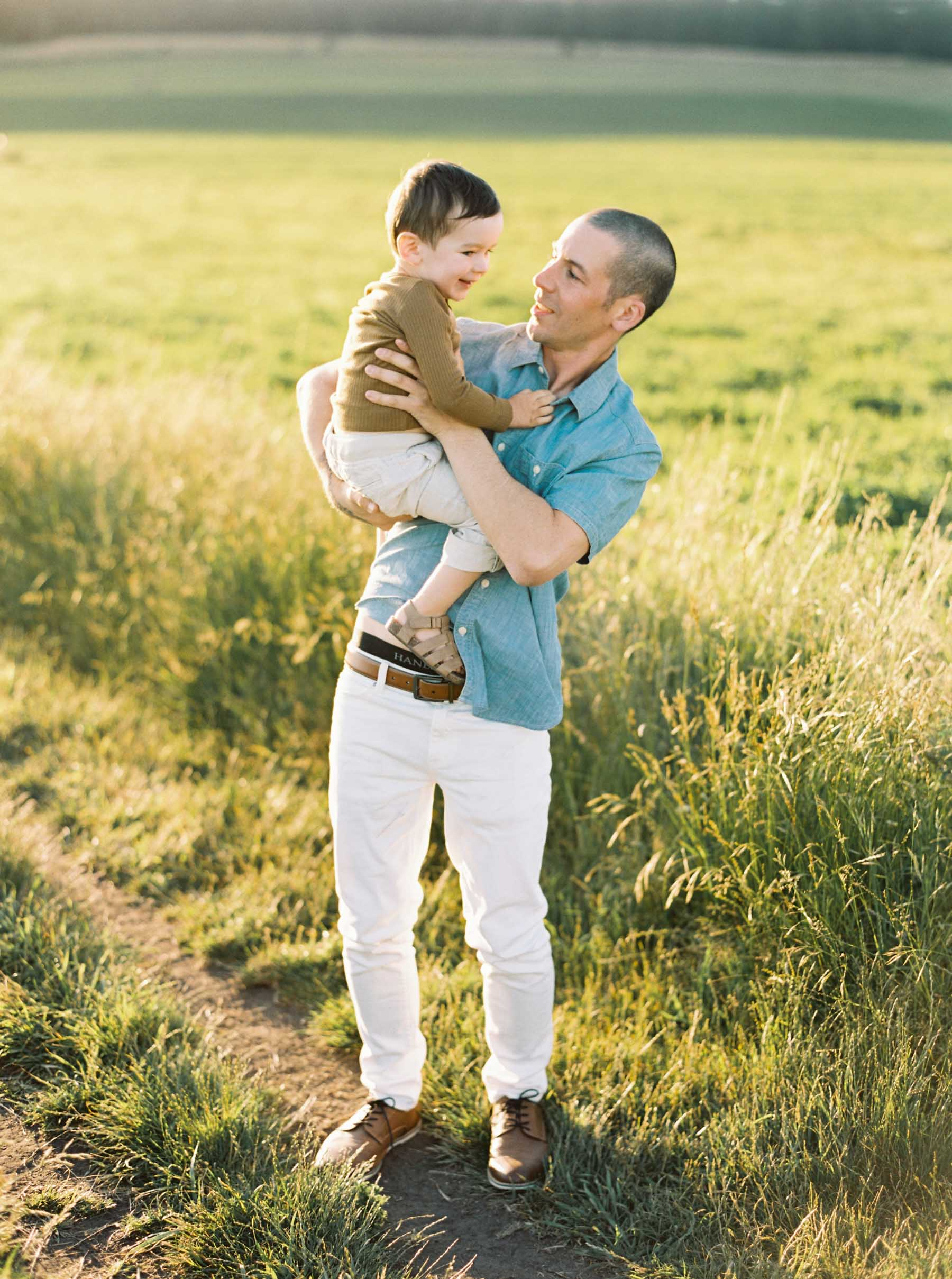 Dad and son portraits at Ebey's landing for an elegant Whidbey Island family session