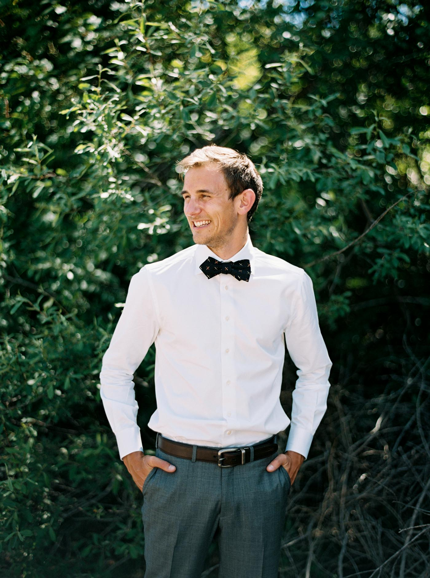 Classic groom portrait on film by top Leavenworth Wedding Photographer Anna Peters