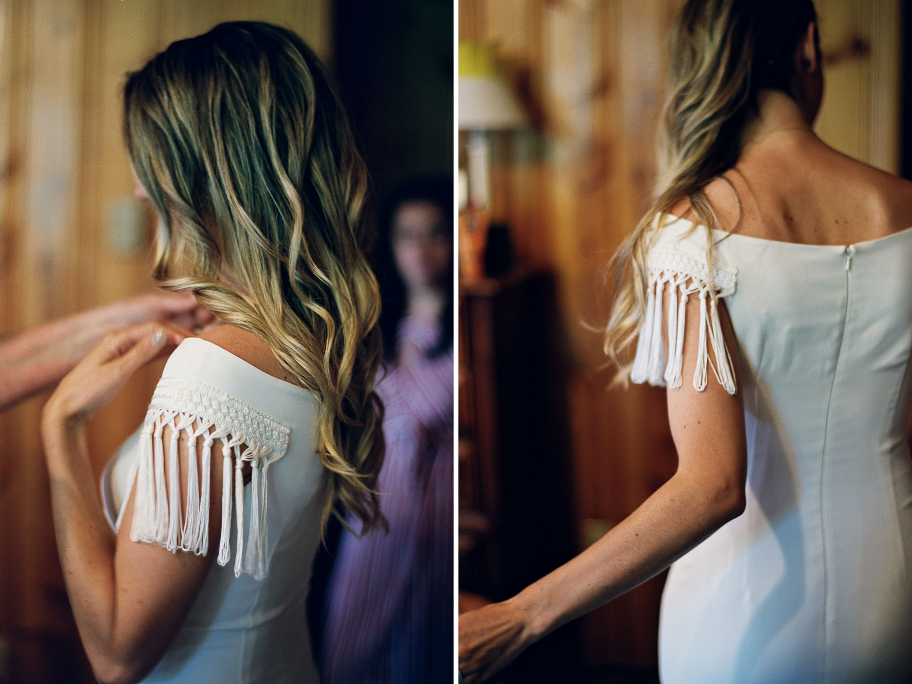 Final touches getting ready for a Leavenworth wedding photographed on film by Seattle wedding photographer Anna Peters