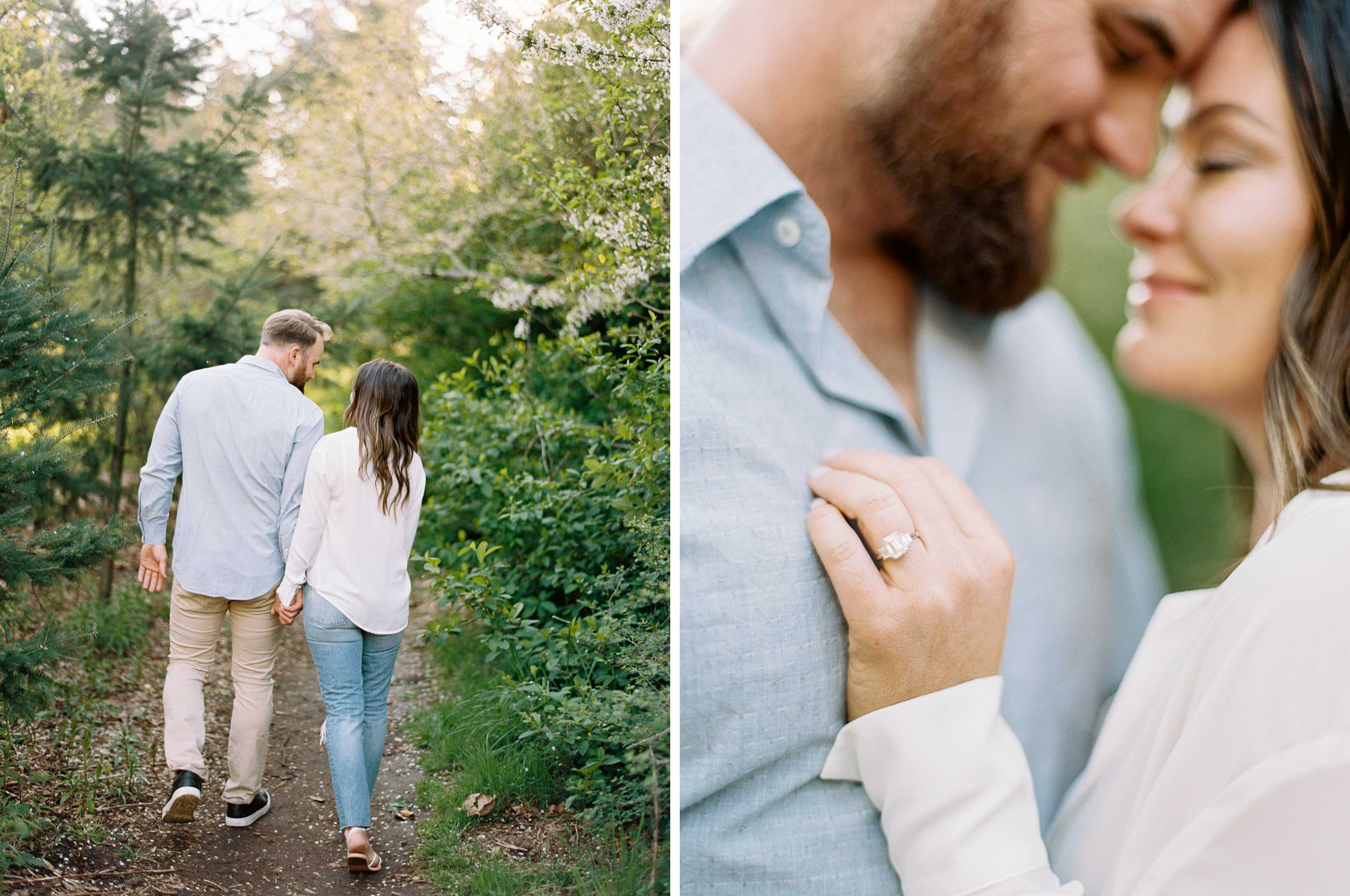 Elegant spring engagement session at Discovery Park in Seattle | Natural, soft, relaxed, engagement photos | Seattle and destination wedding photographer Anna Peters